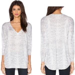 Joie Chyanne Snakeskin Print V-neck Sweater